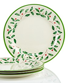Holiday Melamine Dinner Plates, Set of 4