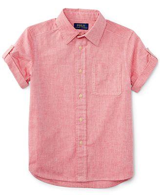 Ralph lauren little boys 39 short sleeve chambray shirt for Chambray shirt for kids