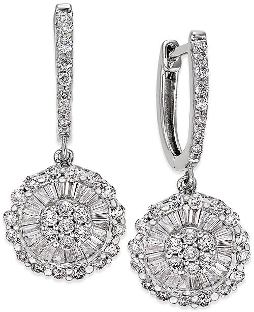 Macy's Diamond Daisy Earrings (1-1/4 ct. t.w.) in 14k White Gold