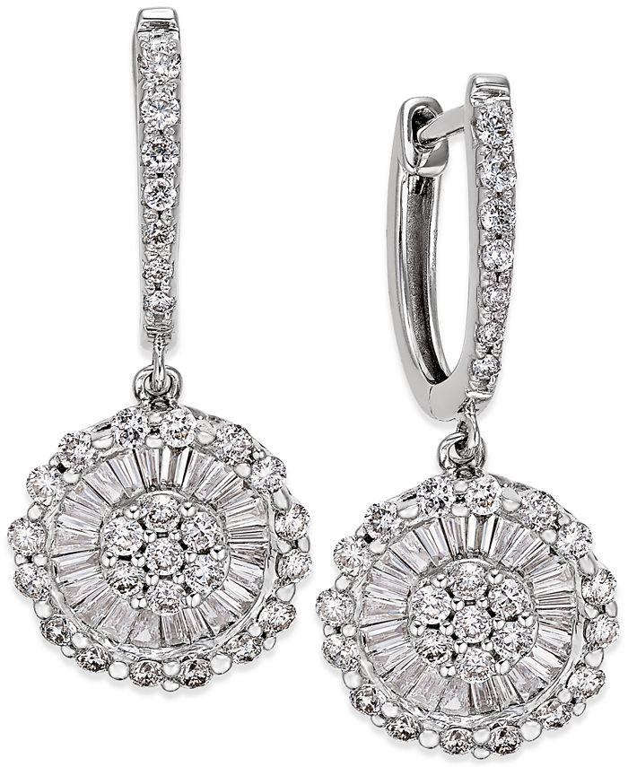 Macy's - Diamond Daisy Drop Earrings (1-1/4 ct. t.w.) in 14k White Gold