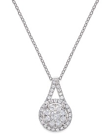 "Diamond Pendant 18"" Necklace (1/2 ct. t.w.) in Sterling Silver"
