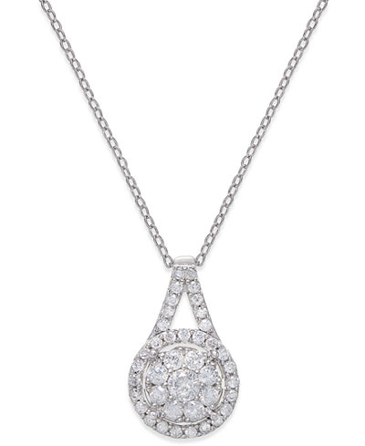 Diamond pendant 18 necklace 12 ct tw in sterling silver diamond pendant 18 mozeypictures Choice Image