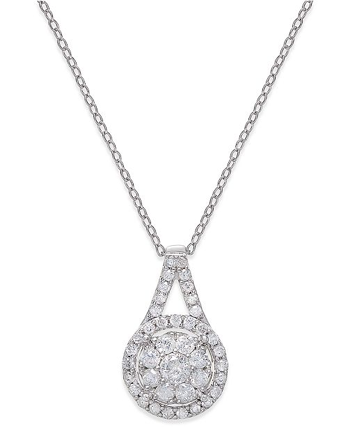 "Macy's Diamond Pendant 18"" Necklace (1/2 ct. t.w.) in Sterling Silver"