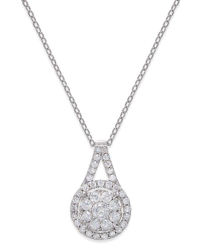Macy's - Diamond Pendant Necklace (1/2 ct. t.w.) in Sterling Silver