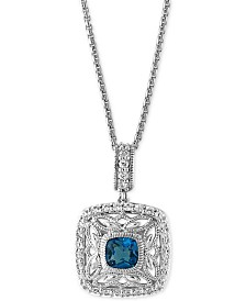 EFFY® London Blue Topaz (1-1/4 ct. t.w.) and White Sapphire (1/2 ct. t.w.) Pendant Necklace in Sterling Silver