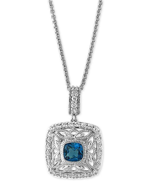 EFFY Collection EFFY® London Blue Topaz (1-1/4 ct. t.w.) and White Sapphire (1/2 ct. t.w.) Pendant Necklace in Sterling Silver