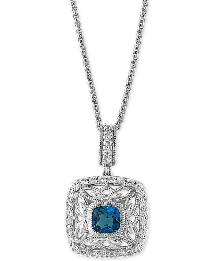 EFFY Collection - London Blue Topaz (1-1/4 ct. t.w.) and White Sapphire (1/2 ct. t.w.) Pendant Necklace in Sterling Silver