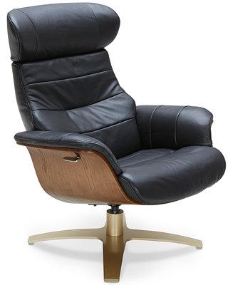 Annaldo Leather Swivel Chair Furniture Macy S