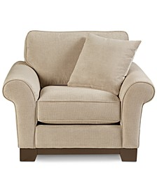 "CLOSEOUT! Medland 44"" Fabric Roll Armchair with 1 Toss Pillow, Created for Macy's"