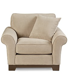 "Medland 44"" Fabric Roll Armchair with 1 Toss Pillow, Created for Macy's"