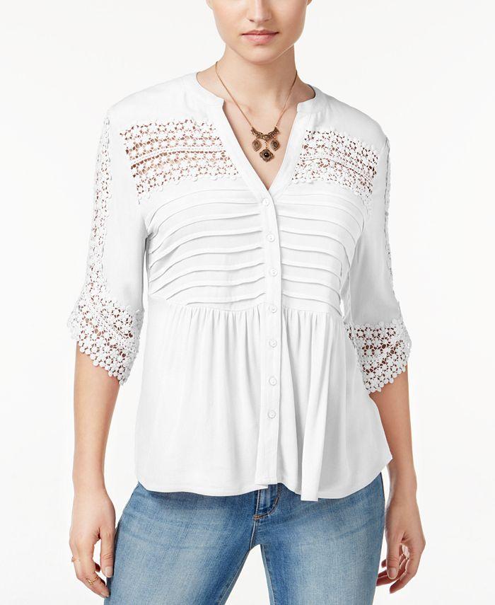 American Rag - Short-Sleeve Babydoll Lace Top