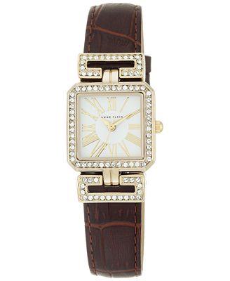 Anne klein women 39 s brown leather strap watch 24x31mm ak 2396wtbn watches jewelry watches for Anne klein leather strap