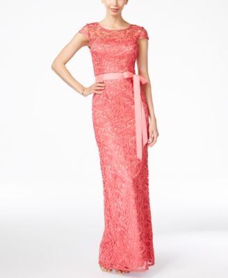 Cap-Sleeve Illusion Lace Gown