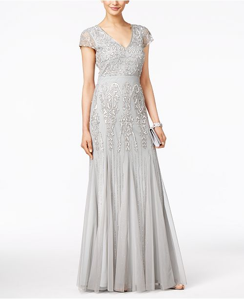 d1b24a9efa2 Adrianna Papell Cap-Sleeve Beaded V-Neck Gown   Reviews ...