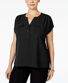 I.N.C. Plus Size Mixed-Media Utility Shirt, Created for Macy's