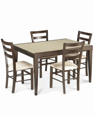 Cafu0026eacute; Latte 5 Piece Dining Set: Glass Top Dining Table And 4 Slatback