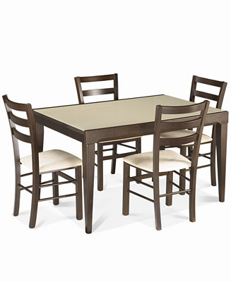 Caf Latte 5 Piece Dining Set Glass Top Dining Table And