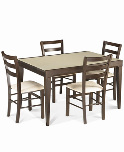 Caf Latte 5 Piece Dining Set Glass Top Dining Table And 4 Slatback Chairs Furniture Macy 39 S