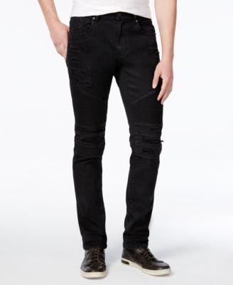 Men's Slim-Fit Leroy Waxed Denim Black Moto Jeans
