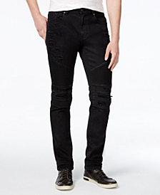 Reason Men's Slim-Fit Leroy Waxed Denim Black Moto Jeans