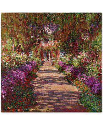 'A Pathway in Monet's Garden' by Claude Monet Canvas Print