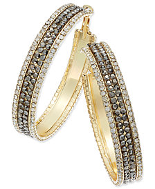 Thalia Sodi Gold-Tone Metal Mesh and Crystal Hoop Earrings, Created for Macy's