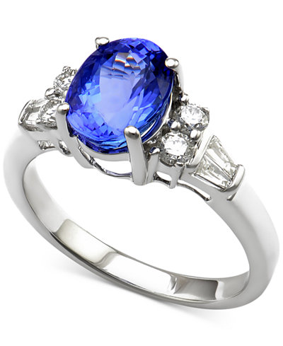 Tanzanite (2 ct. t.w.) and Diamond (1/3 ct. t.w.) Ring in 14k White Gold