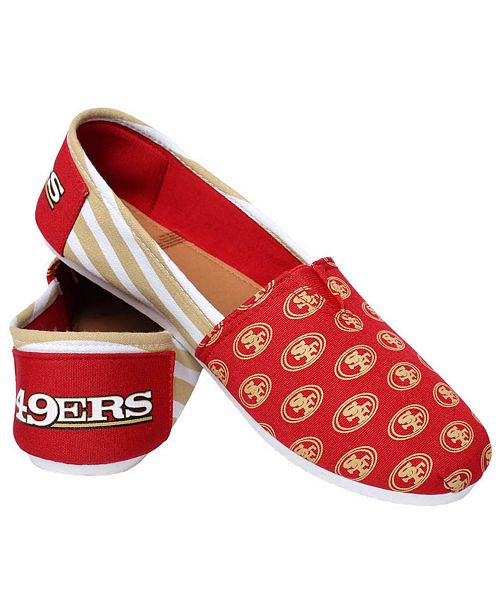 Forever Collectibles Women's San Francisco 49ers Canvas Stripe Shoes