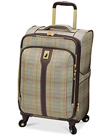 "CLOSEOUT! London Fog Knightsbridge 21"" Carry On Expandable Spinner Suitcase, Available in Brown and Grey Glen Plaid, Created for Macy's"