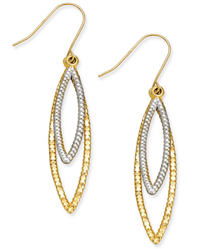 Two-Tone Double Marquise Drop Earrings in 10k Yellow and White Gold