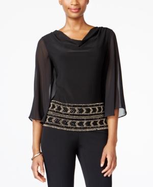 Vintage & Retro Shirts, Halter Tops, Blouses and more Msk Beaded Cowl-Neck Blouse $69.00 AT vintagedancer.com