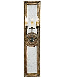 Small Three-Arm Mirrored Sconce