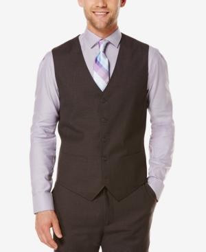 Men's Vintage Inspired Vests Perry Ellis Mens Tonal Micro-Check Vest $18.96 AT vintagedancer.com