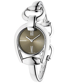 Gucci Women's Swiss Horsebit Stainless Steel Bangle Bracelet Watch 28mm YA139501