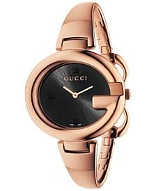 Women's Swiss Guccissima Rose Gold-Tone PVD Bangle Bracelet Watch 36mm YA134305