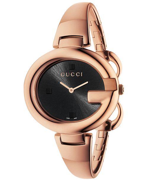 Gucci Women's Swiss Guccissima Rose Gold-Tone PVD Bangle Bracelet Watch 36mm YA134305