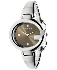 Women's Swiss Guccissima Stainless Steel Bangle Bracelet Watch 36mm YA134302