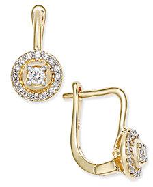 Diamond Circle Leverback Earrings (1/5 ct. t.w.) in 14k Yellow Gold