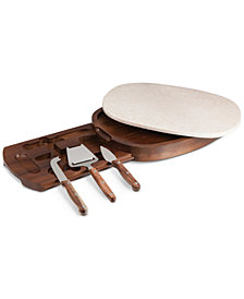 Heritage Collection by Fabio Viviani Acacia Wood Marble Top Cheese Board with Tools