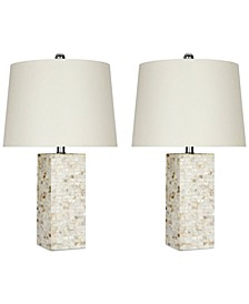 Set of 2 Mother-of-Pearl Square Table Lamps