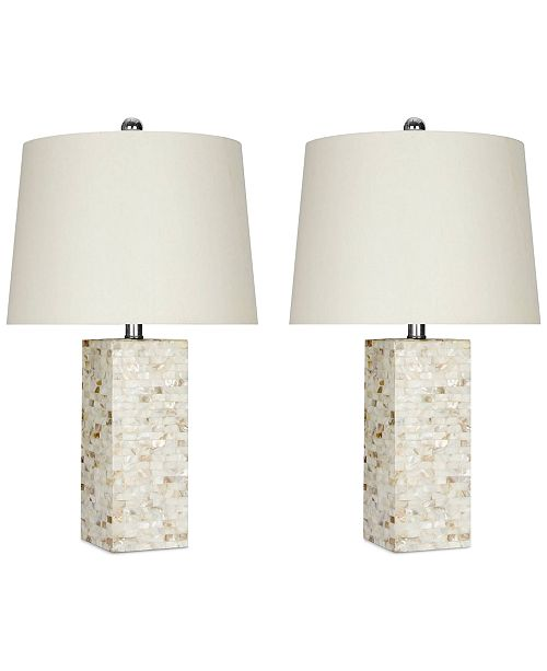 Abbyson Living Set of 2 Mother-of-Pearl Square Table Lamps