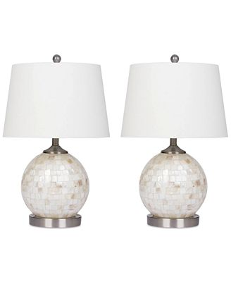 Abbyson living set of 2 mother of pearl mini round table lamps