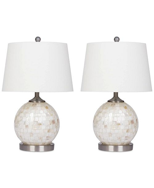 Abbyson Living Set of 2 Mother-of-Pearl Mini Round Table Lamps