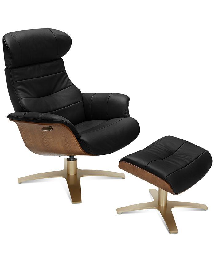 Furniture - Annaldo Leather Swivel Chair & Ottoman 2-Pc. Set