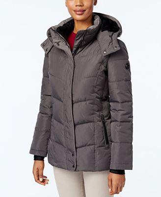 Calvin Klein Fleece-Lined Water-Resistant Hooded Puffer Coat ...