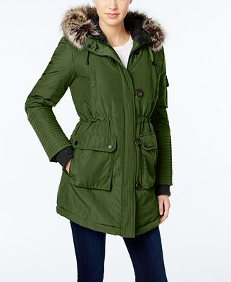BCBGeneration Faux-Fur-Trim Hooded Puffer Parka - Coats - Women ...