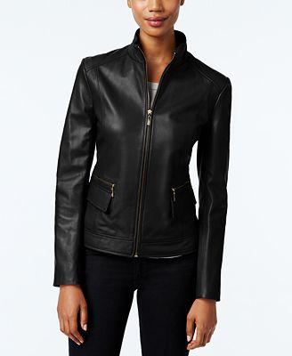 Cole Haan Leather Stand Collar Jacket Coats Women Macy S