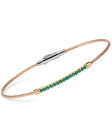 CHARRIOL Women's Laetitia Green Onyx-Accent Two-Tone PVD Stainless Steel Bendable Cable Bangle Bracelet