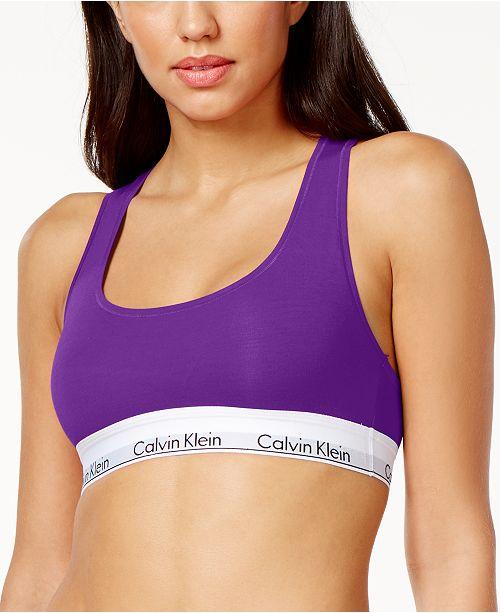 2b99bbfced Calvin Klein Low-Impact Logo Bralette F3785 - All Bras - Women - Macy s