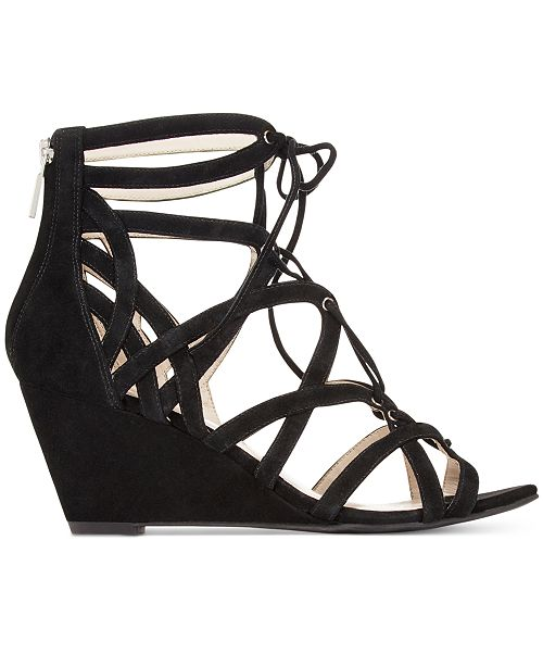 Kenneth Cole New York Women s Dylan Lace-Up Wedge Sandals - Sandals ... f6d13537ed